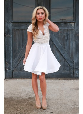Princess/A-Line V-Neck Cap Sleeves Open Back White Homecoming/Prom Dresses