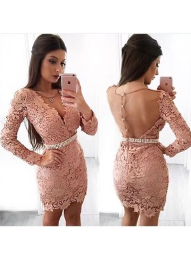 Sheath V-Neck Long Sleeves Blush Lace Homecoming Dress 2019 with Pearls