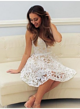 A-Line V-Neck Short White Lace Homecoming Dress 2020