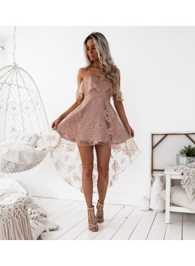 A-Line Spaghetti Straps Hi-Lo Blush Lace Homecoming Dress 2020