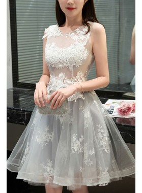 A-Line Jewel Sleeveless Light Gray Tulle Homecoming Dress 2021 with Appliques