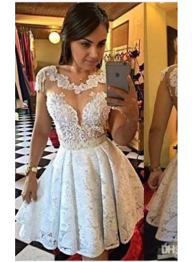 Princess/A-Line Scalloped-Edge Cap Sleeves Short White Lace Homecoming/Prom Dresses with Lace