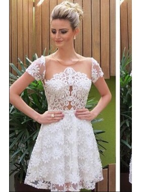 A-Line Jewel Short Sleeves White Lace Homecoming Dress 2019 with Illusion Back