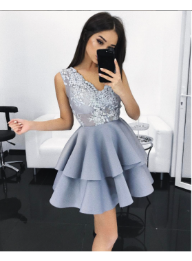 A-Line V-Neck Short Light  Blue Satin Homecoming Dress 2019 with Appliques Tired