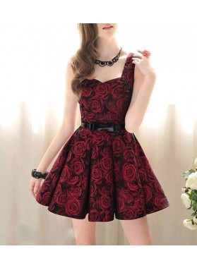 A-Line Square Sleeveless Dark Red Satin Homecoming Dress 2019 with Print Belt
