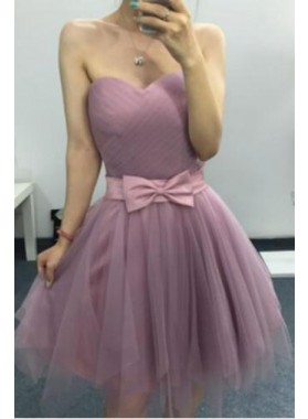 A-Line Sweetheart Above-Knee Purple Tulle Homecoming Dress 2020 with Bowknot