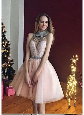A-Line High Neck Knee-Length Light Pink Tulle Homecoming Dress 2021 with Beading