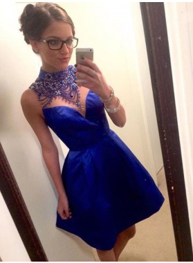 A-Line High Neck Short Royal Blue Satin Homecoming Dress 2020 with Beading