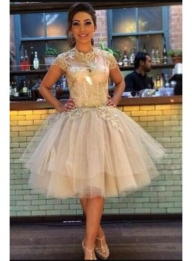 A-Line High Neck Short Sleeves Champagne Tulle Homecoming Dress 2019 Appliques