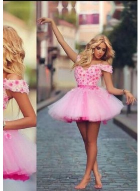 A-Line Off-the-Shoulder Short Pink Tulle Homecoming Dress 2019 with Appliques