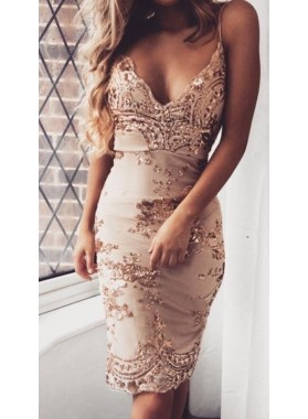 Sheath Spaghetti Straps Knee-Length Champagne Homecoming Dress 2021 with Sequins