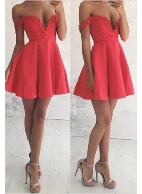 A-Line Off-the-Shoulder Short Satin Red Homecoming Dress 2021 with Appliques