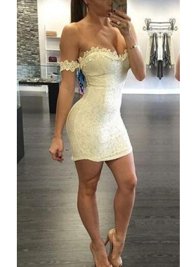 Sheath Off-the-Shoulder Ivory Stretch Satin Homecoming Dress 2020 with Appliques