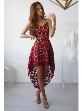 A-Line Spaghetti Straps Asymmetrical Burgundy Lace Homecoming Dress 2020