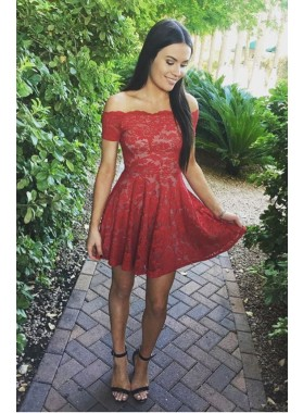 Princess/A-Line Off-the-Shoulder Short Sleeves Short Red Lace Homecoming/Prom Dresses