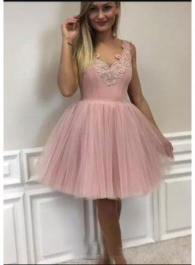 A-Line V-Neck Short Blush Tulle Homecoming Dress 2021 with Appliques