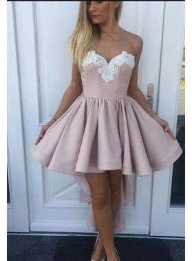 A-Line Sweetheart High Low Blush Homecoming Dress 2019 with Appliques