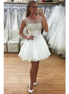 A-Line Crew Neck Short White Homecoming Dress 2020 with Lace Beading