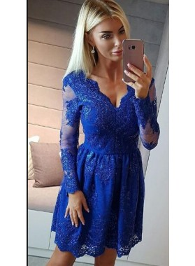 A-Line V-Neck Long Sleeves Royal Blue Homecoming Dress 2019 with Appliques