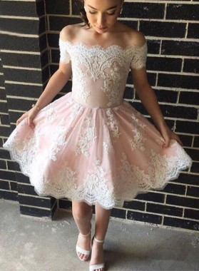 A-Line Off-the-Shoulder Appliques Short Pearl Pink Homecoming Dress 2019