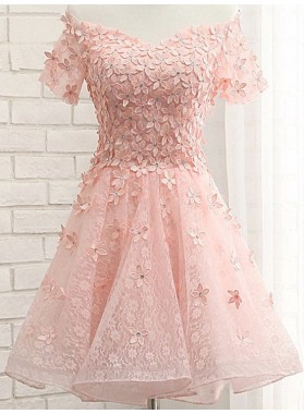 Princess/A-Line Off-the-Shoulder Appliques Short Coral Lace Homecoming/Prom Dresses