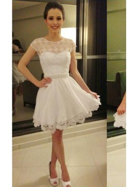 A-Line Jewel Cap Sleeves White Short Homecoming Dress 2020 with Pearl