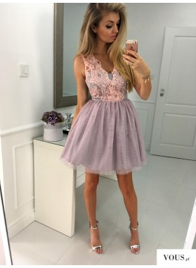 A-Line V-Neck Short Lavender Tulle Homecoming Dress 2019 with Lace