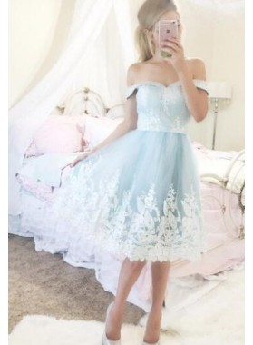 A-Line Off-the-Shoulder Short Blue Homecoming Dress 2019 with Appliques