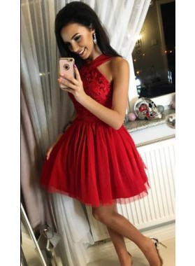 A-Line Cross Neck Short Red Tulle Homecoming Dress 2019 with Beading