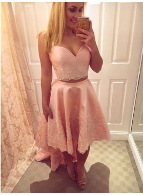 Two Piece Straps High Low Pink Satin Homecoming Dress 2020 with Lace