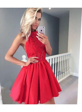 A-Line Jewel Backless Red Homecoming Dress 2019 with Appliques