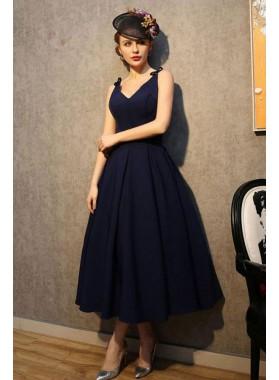 Princess/A-Line Satin Dark Navy Short Prom Dresses