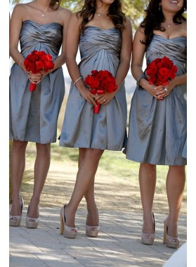 2020 Cheap A Line Taffeta Silver Sweetheart Ruffles Short Bridesmaid Dresses / Gowns