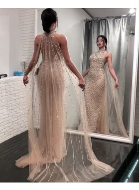 2019 Sexy Champagne Sheath/Column Beaded Bling Prom Dresses