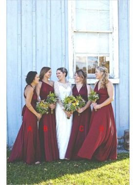 2021 Cheap A Line Chiffon Burgundy Long Bridesmaid Dresses / Gowns