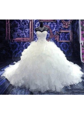 Sweetheart Ball Gown Beaded Multilayer Wedding Dresses