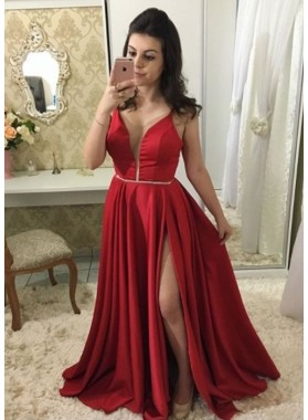 2019 Cheap Princess/A-Line Satin Red Sweetheart Side Slit Prom Dresses