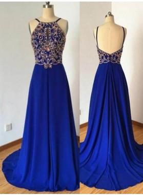 LadyPromDress 2019 Blue Beading Spaghetti Straps A-Line/Princess Chiffon Prom Dresses