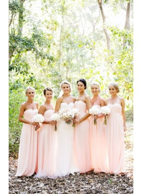2019 Cheap A Line Chiffon Pink Sweetheart Long Bridesmaid Dresses / Gowns