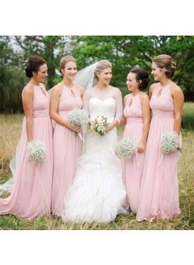Chiffon A Line 2021 Cheap Pink Bridesmaid Dresses