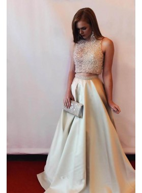 2019 Cheap Satin Princess/A-Line Beaded Two Pieces Prom Dresses