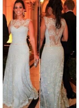 Illusion Floor-Length/Long A-Line/Princess Lace Prom Dresses