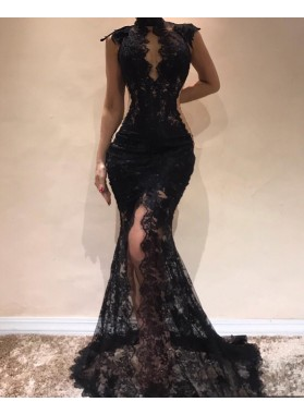 Charming Black High Neck Lace Mermaid 2020 Prom Dresses