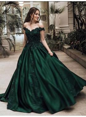 2020 Classic Satin Dark Green Off Shoulder Sweetheart Ball Gown Prom Dress