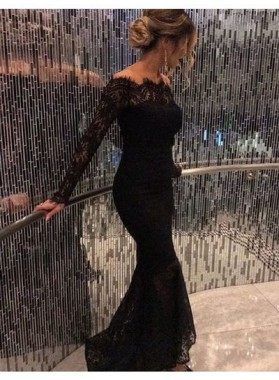 2021 Sexy Black Long Sleeves Lace Off The Shoulder Prom Dresses