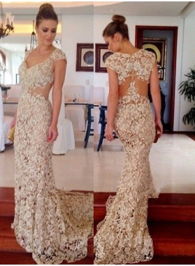 Court Train Mermaid/Trumpet Lace Prom Dresses