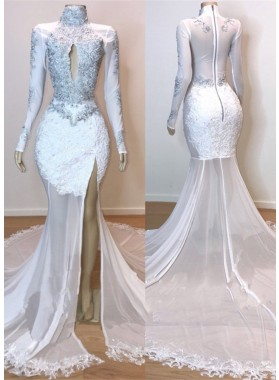 2020 White Long Sleeve High Neck Lace and Tulle Side Slit Mermaid Prom Dresses