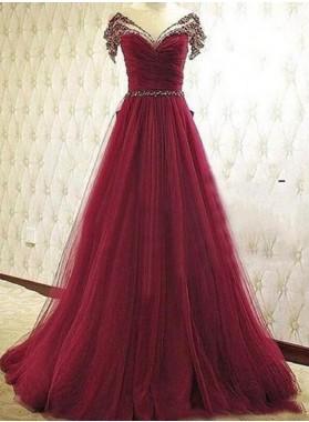 Burgundy Beading V-Neck A-Line/Princess Tulle Prom Dresses