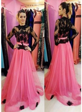Illusion Long Sleeve A-Line/Princess Tulle Prom Dresses