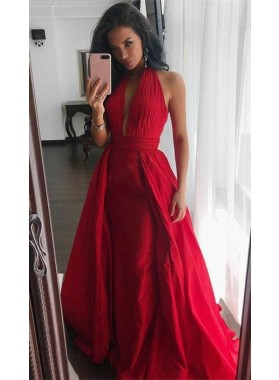 2021 Cheap Princess/A-Line Red Chiffon Halter Prom Dresses